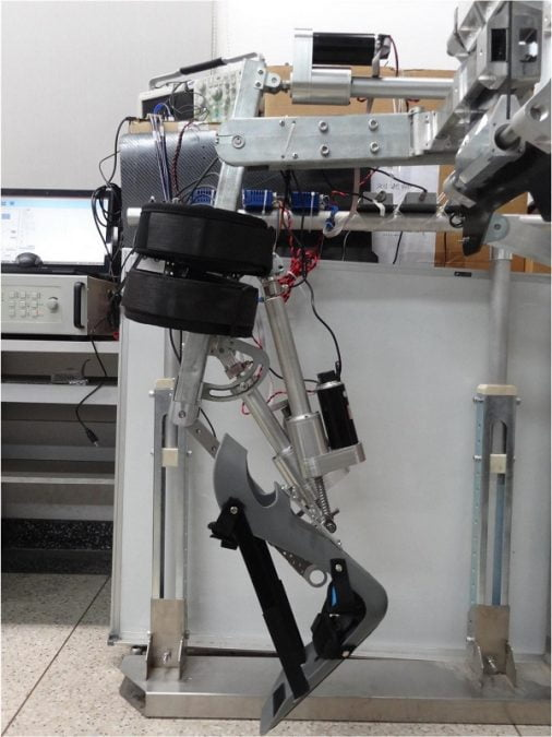 This is a prototype of the lower-limb exoskeleton being developed at Beihang University in Beijing, China.  Credit: Beihang University.